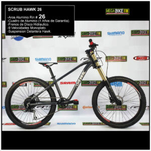 Bicicleta-guayaquil-mtb-montañera-talla-mega-bike-store-bike-shimano-hawk-aro26-scrub-aluminio-negro-dorado