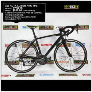 Bicicletas-talla-aro-700-mega-bike-store-bike-ruta-carrera-shimano-triatlón-gw-lumen-aluminio-claris-aro700-carbono-amarillo-negro