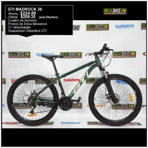 Bicicleta-guayaquil-mtb-montañera-talla-mega-bike-store-bike-shimano-gti-madrock-aro-26-aluminio-verde