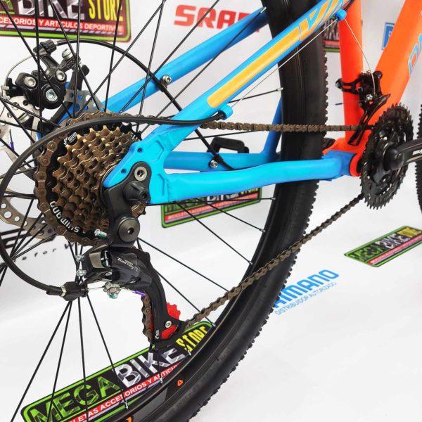 Bicicleta-guayaquil-mtb-montañera-talla-mega-bike-store-bike-shimano-on-trail-vector-aluminio-naranja-azul