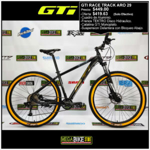 Bicicleta-guayaquil-mtb-montañera-talla-mega-bike-store-bike-shimano-gti-race-track-aro-29-aluminio-negro-dorado.