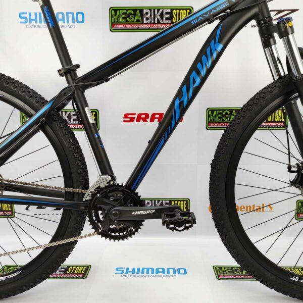 Bicicleta-guayaquil-mtb-montañera-talla-mega-bike-store-bike-shimano-bicicleta-hawk-savage-aluminio-aro-29-negro-azul