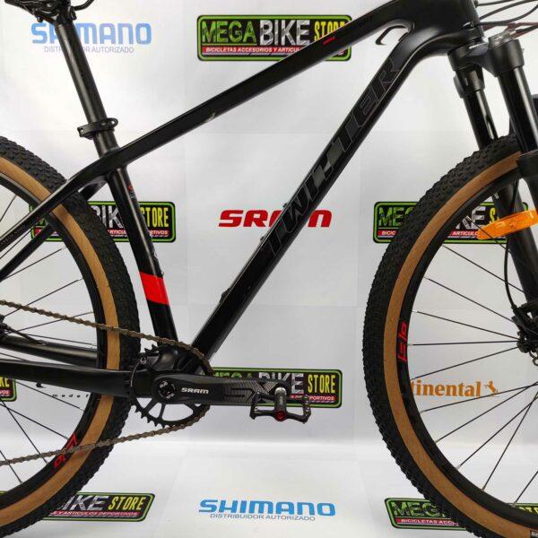 Bicicleta-guayaquil-mtb-montañera-talla-mega-bike-store-bike-shimano-twitter-warrior-pro-aro-29-carbono-negro-rojo